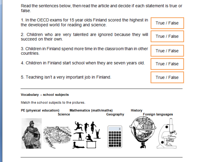 Lesson plan Schools in Finland TeachingGamesEFL by Mike – Then Than Worksheet